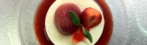 Panna cotta and strawberries